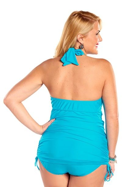 93479fc2010b4 ... halter plus size swimsuit - adjustable length skirt lets you control  the coverage. Ruching and slimming tummy control lining highlight your  hourglass ...