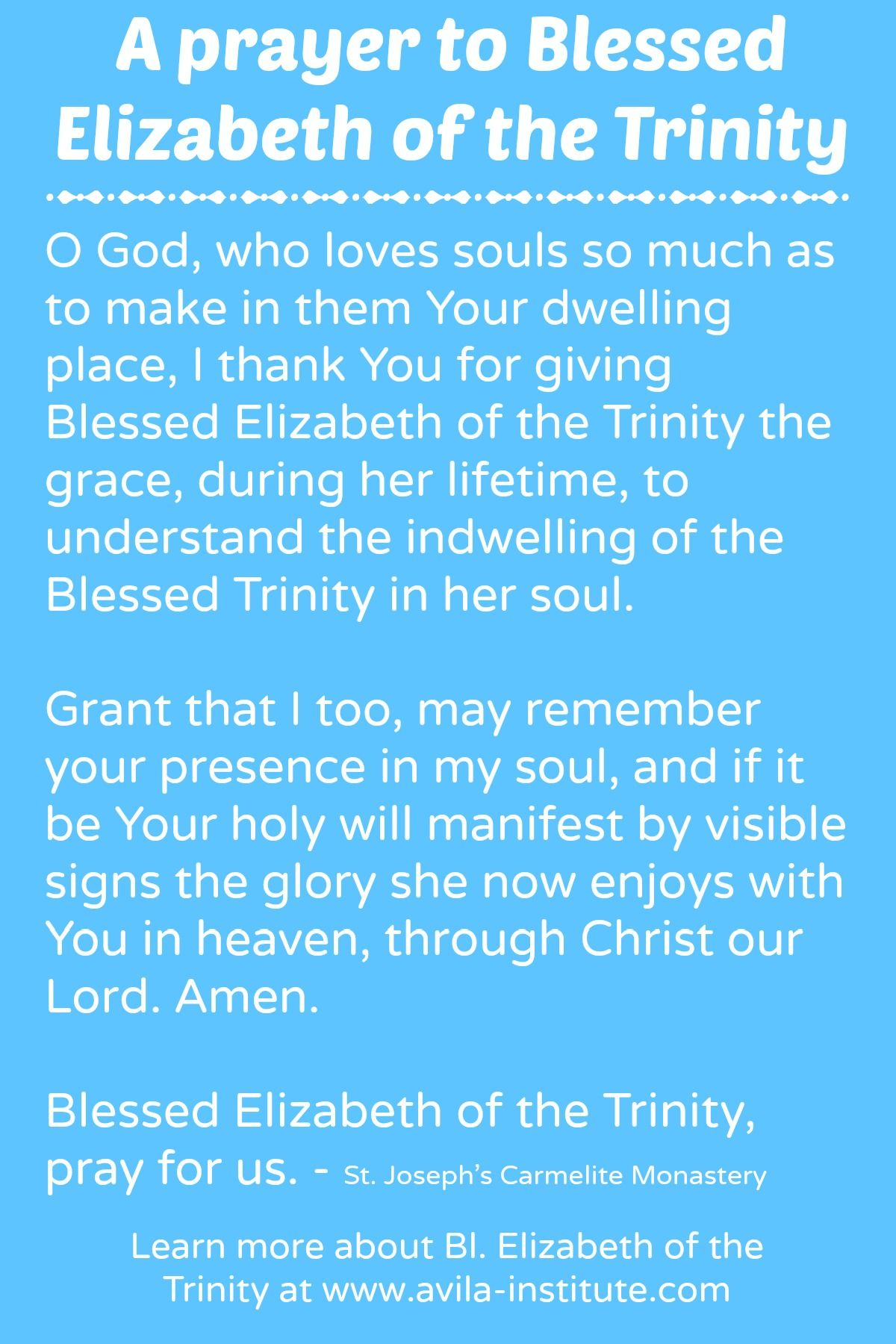 Prayer To Blessed Elizabeth Of The Trinity Learn More