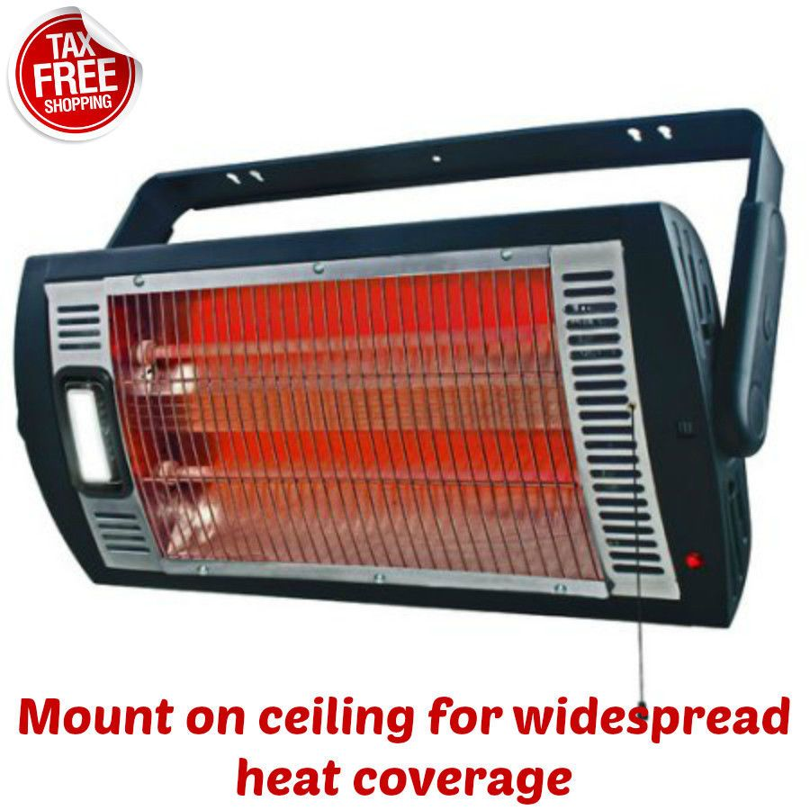 Electric Heater Ceiling Mounted Patio Workshop Garage Light Black