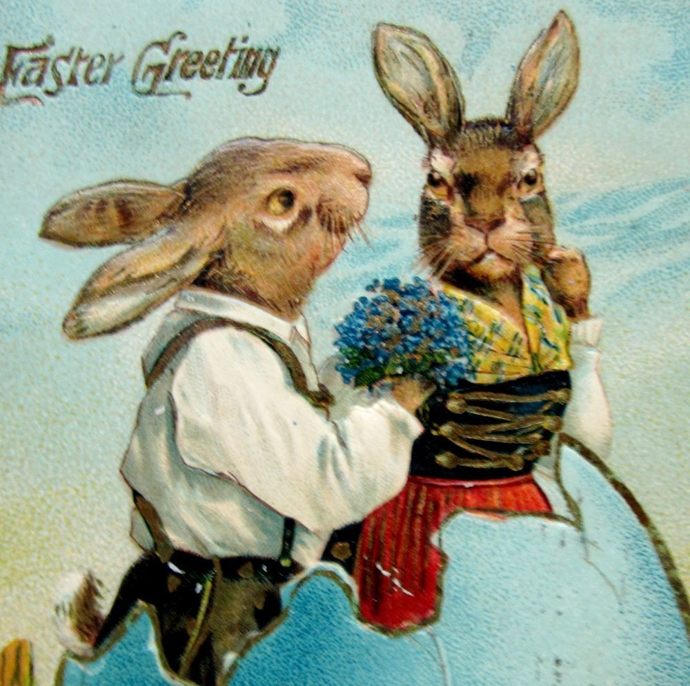 EASTER Fantasy Romantic RABBITS in a Big Blue EGG Postcard EMB