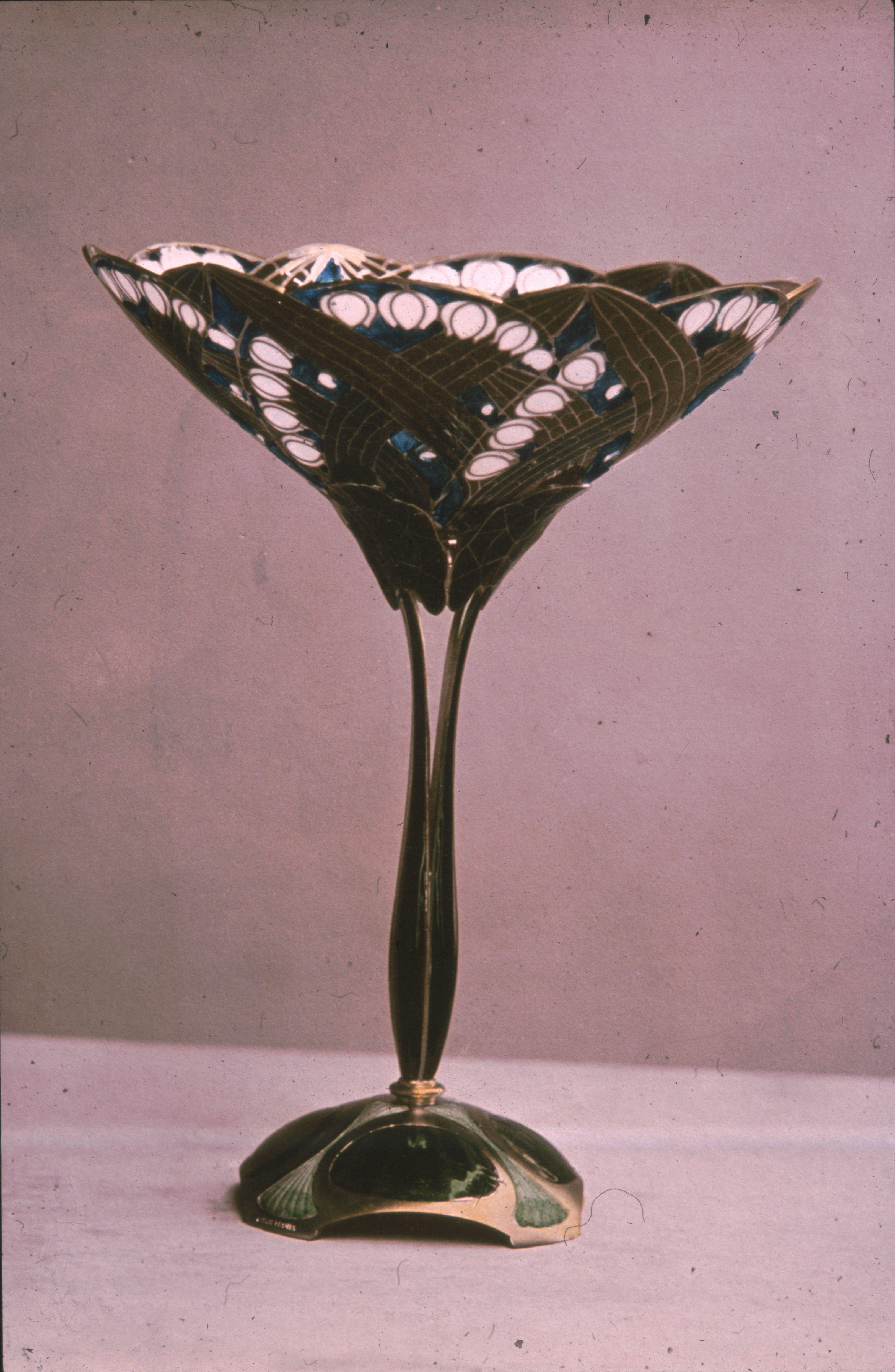 Gustav Gaudernack design for David Andersen of silver gilt decorative vase with plique-a-jour enamel. 1908-1910. Hesssiches Landesmuseum Darmstadt, Germany