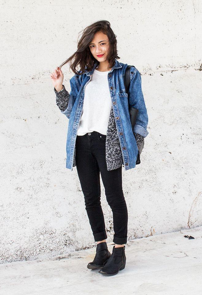e9e8032a77 OUTFIT: oversized denim jacket, grey cardigan, white top, black jeans,  black…