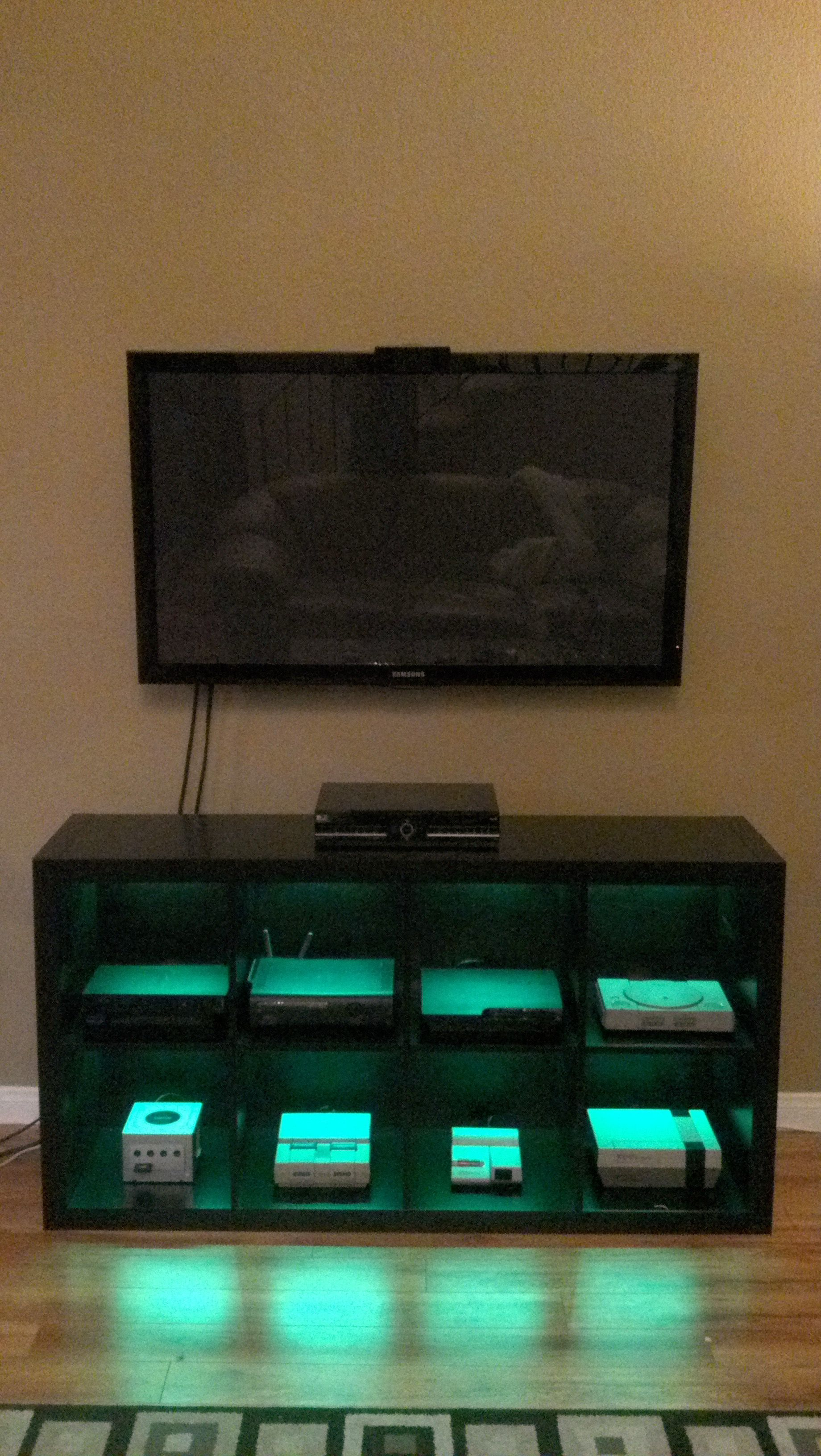 Meuble Jeux Video Video Game Console Cabinet With Led Lights Via Reddit User