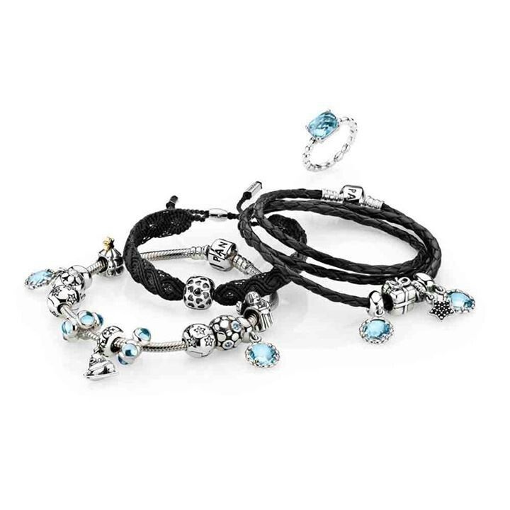 616ef92cc PANDORA Trio. Black Leather, Macrame and Silver Bracelet in Cool Ice Blue.