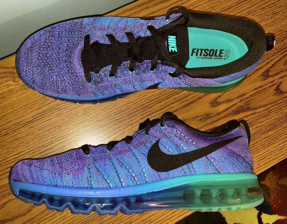 NEW Nike Air FlyKnit Max Running Shoes MEN'S 10 Size 620469 500 FitSole 2  Blue