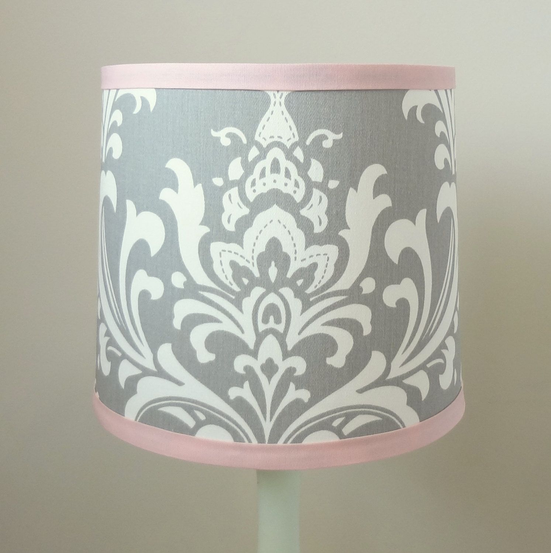 Small Pink And Gray Damask Nursery Lamp Shade