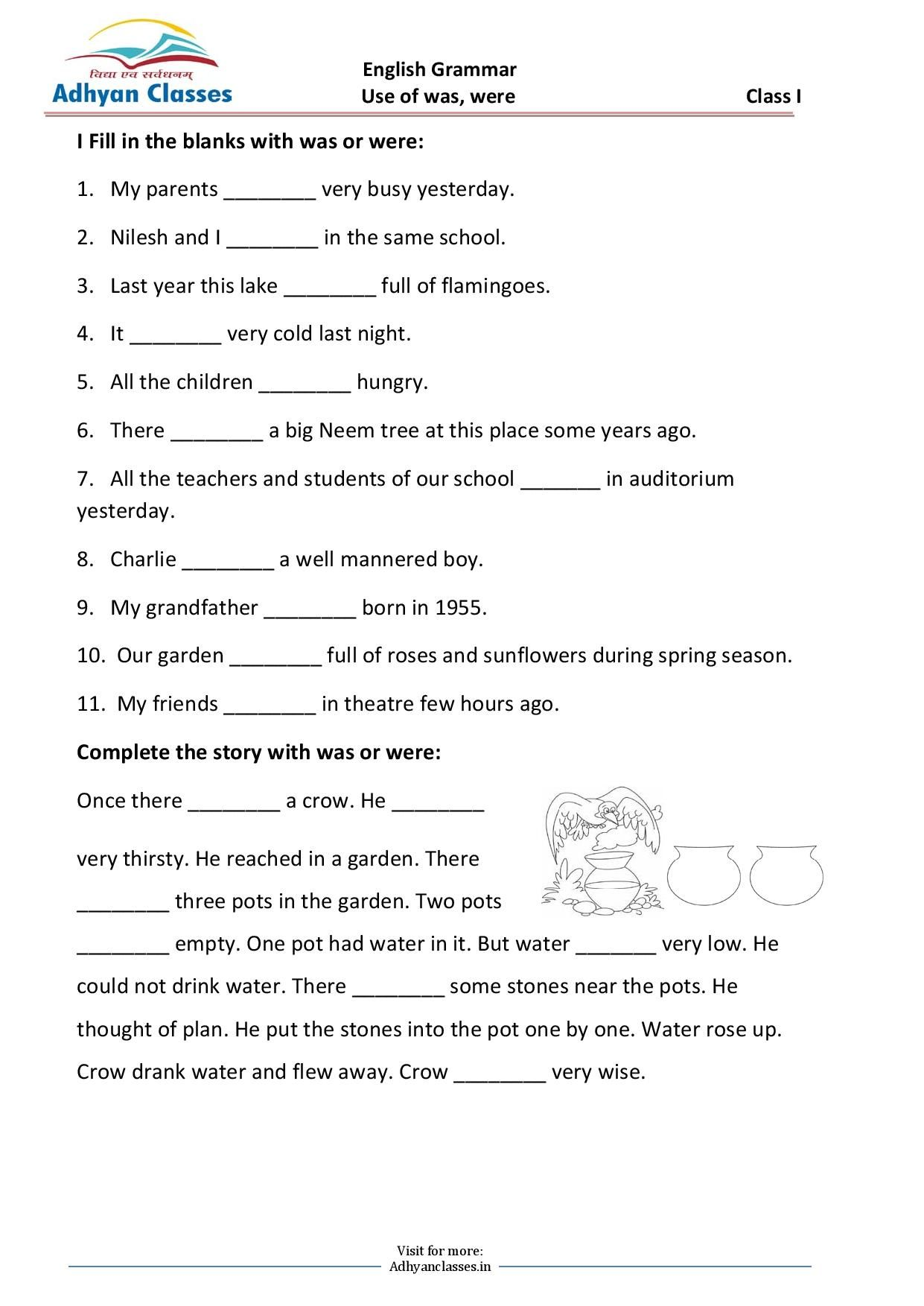 Use Of Was Were Worksheet For Grade I In