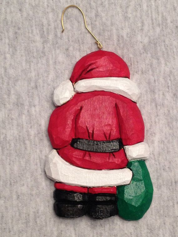 Personalized hand carved handmade santa tree ornament wood