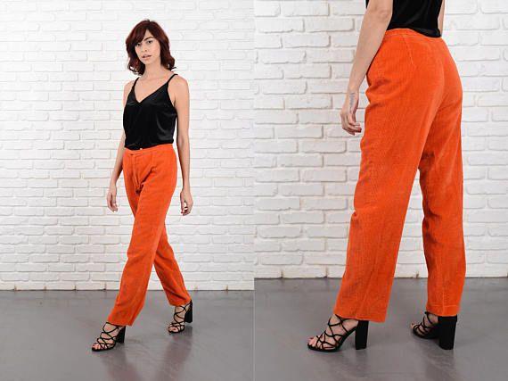 Vintage 60s 70s Orange Corduroy Pants Trousers Mod Cords