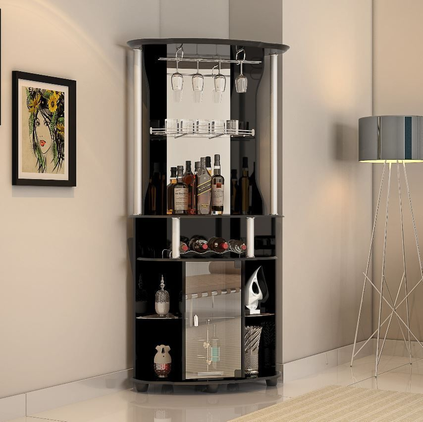 Liquor Cabinet Mini Home Bar Wine Storage Rack Corner Pub