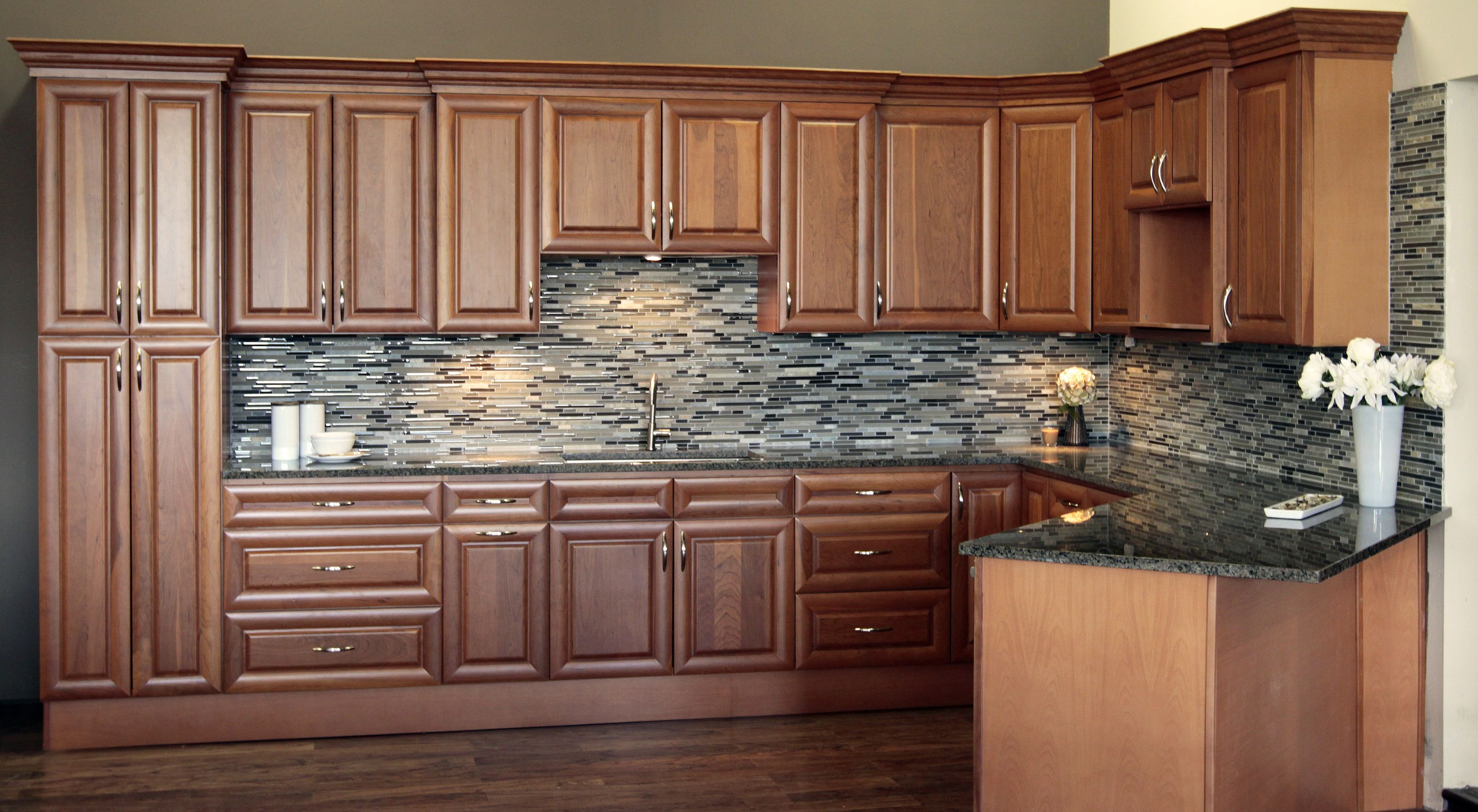 Natural American Cherry Raised Panel | Kitchen cabinet ...