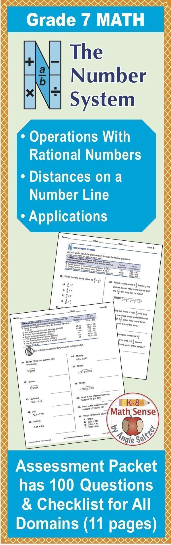 Grade 7 CCSS Math Self-Assessment and Review Packet ~ Form C ...