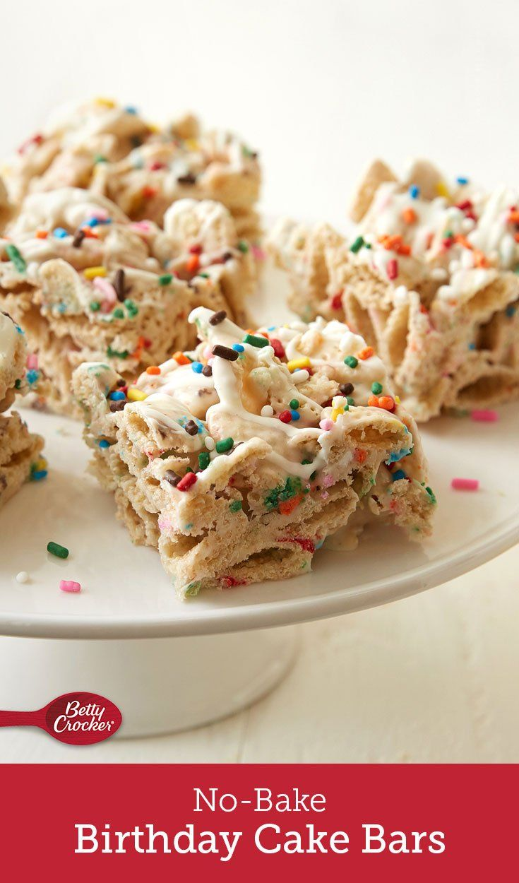 No Bake Birthday Cake Bars Recipe Pinterest Birthday Treats