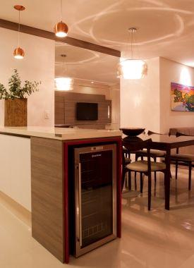 Home Theater Cozinhas Modernas Varandas Gourmet Apartamento