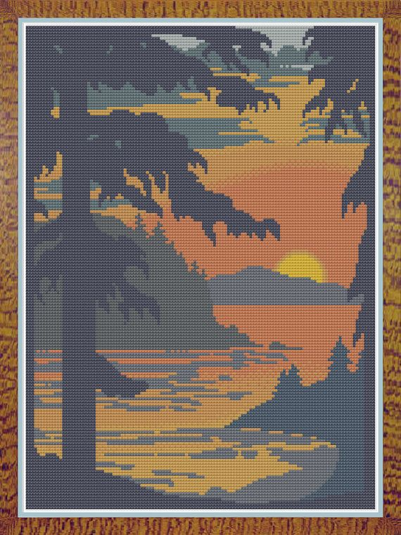 Sunset From Forested Hills Counted Cross by HornswoggleStore