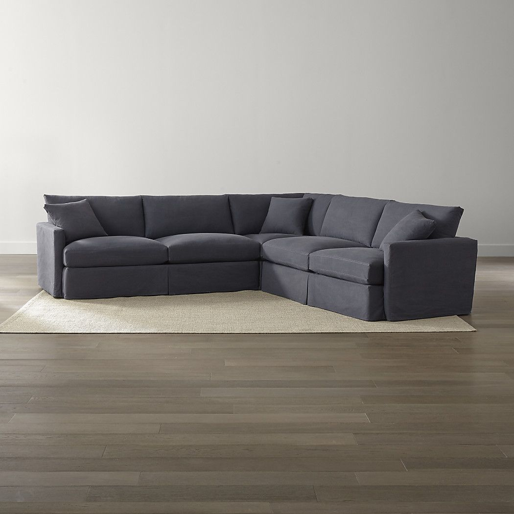Shop lounge ii petite slipcovered 3 piece sectional the lounge ii petite slipcovered 3 piece sectional sofa is a crate and barrel exclusive