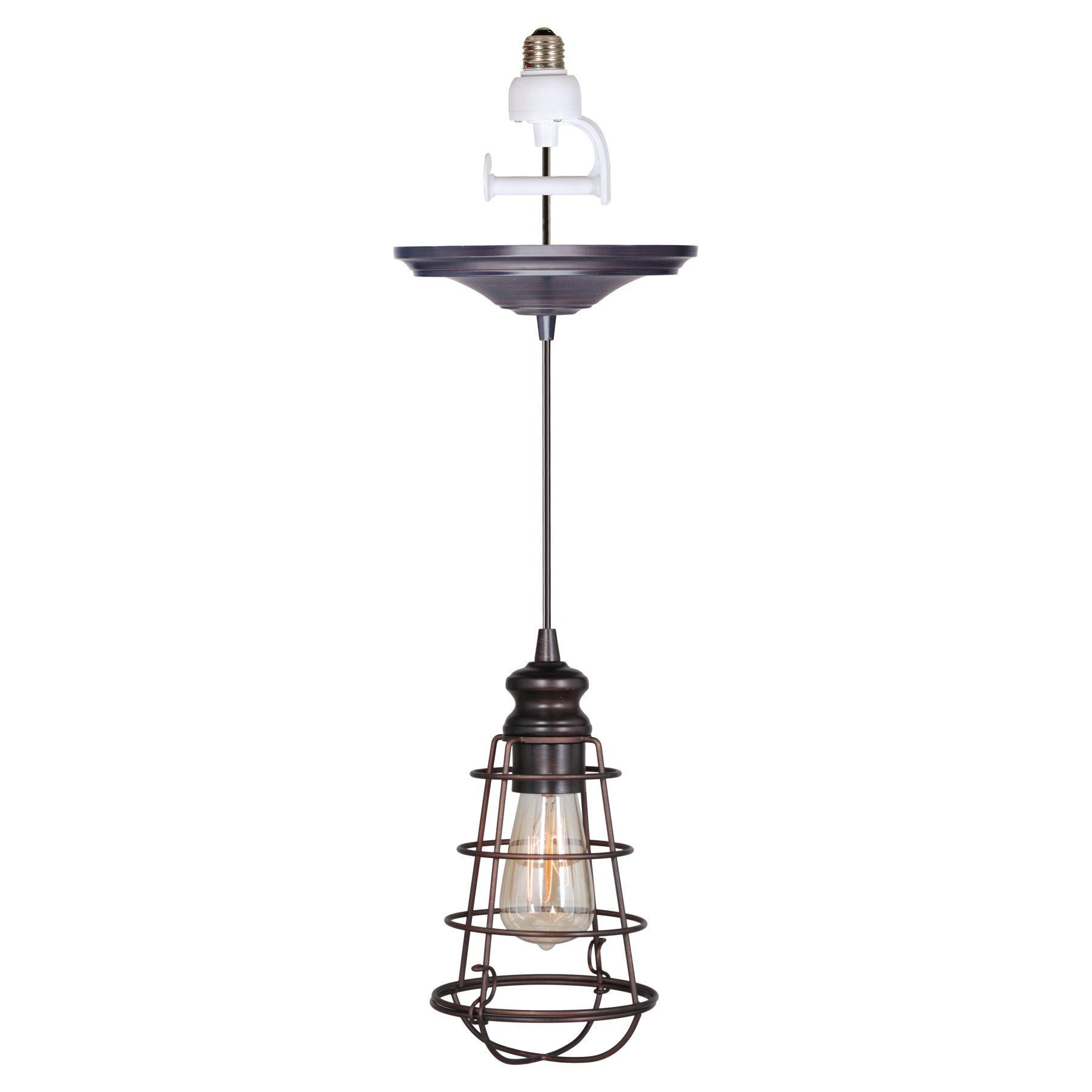 Worth home products instant screw in pendant light with wire cage