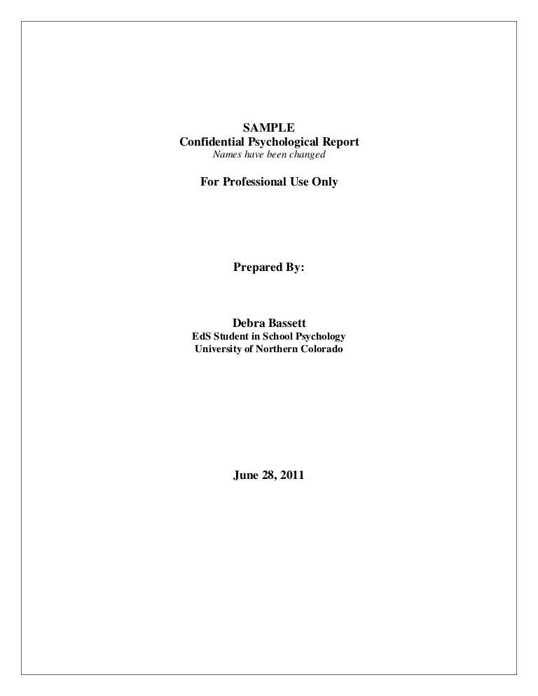 Sample- Psychological Report ABA Pinterest Psychology, Report