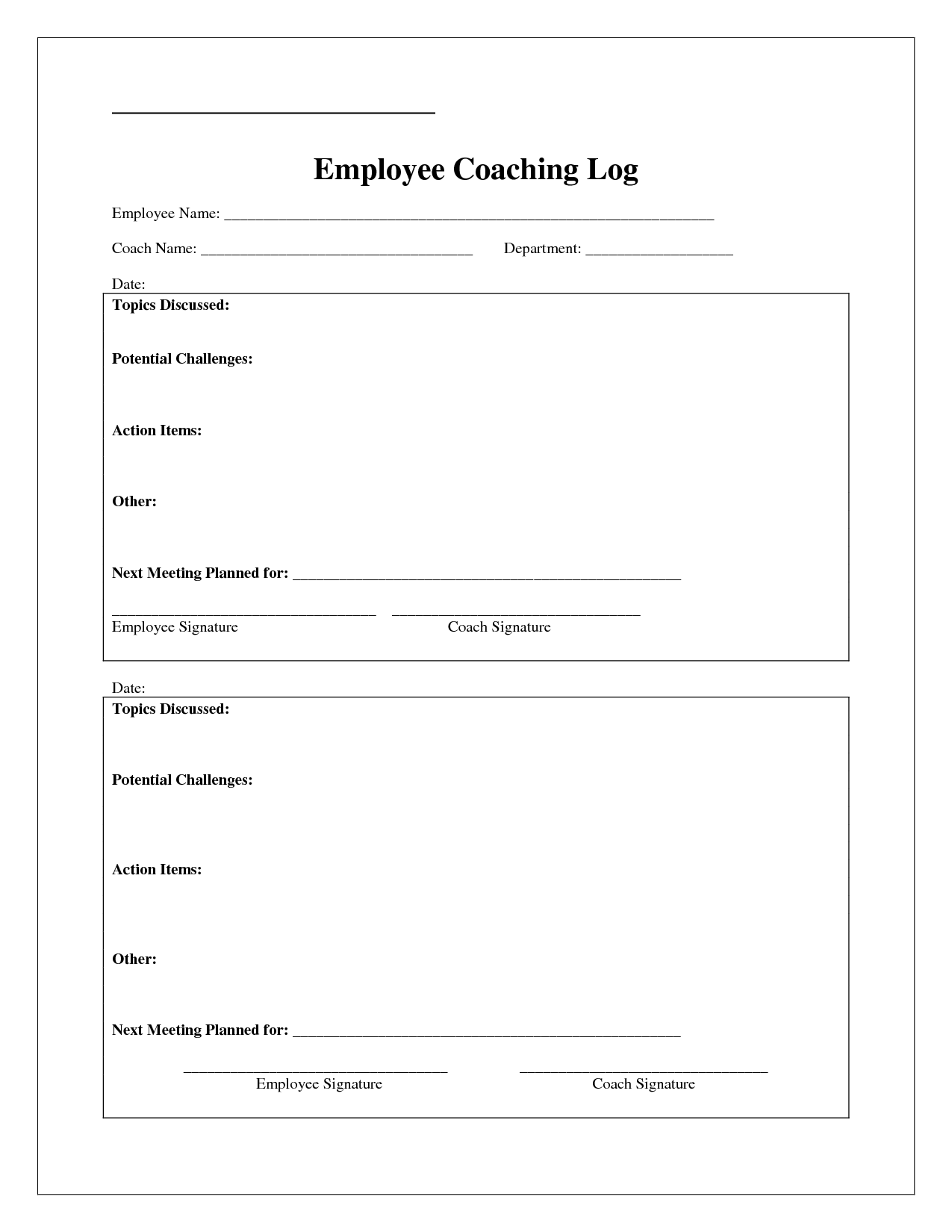 Coaching Log Template