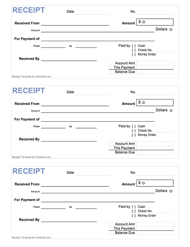 Free Printable Cash Receipt Form (PDF) From Vertex42.com  Payment Receipt Template Pdf