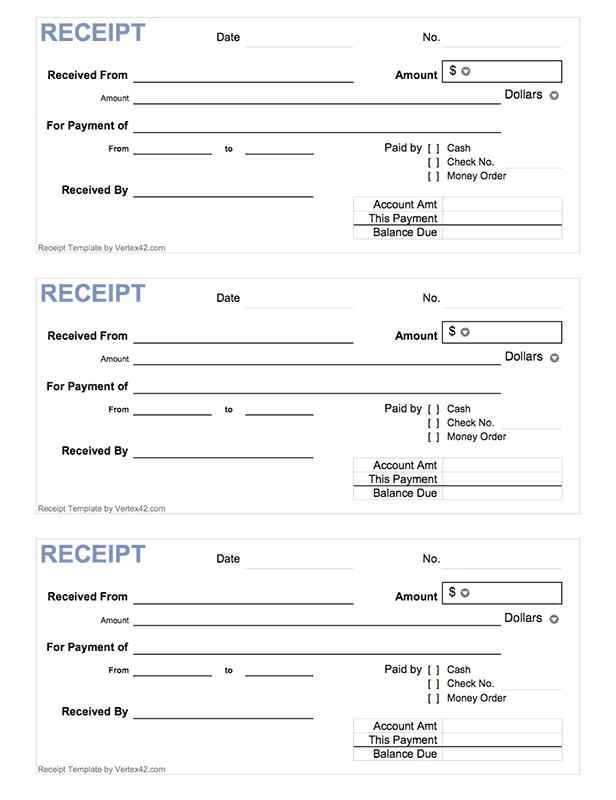 Free Printable Cash Receipt Form Pdf From Vertex42 Com