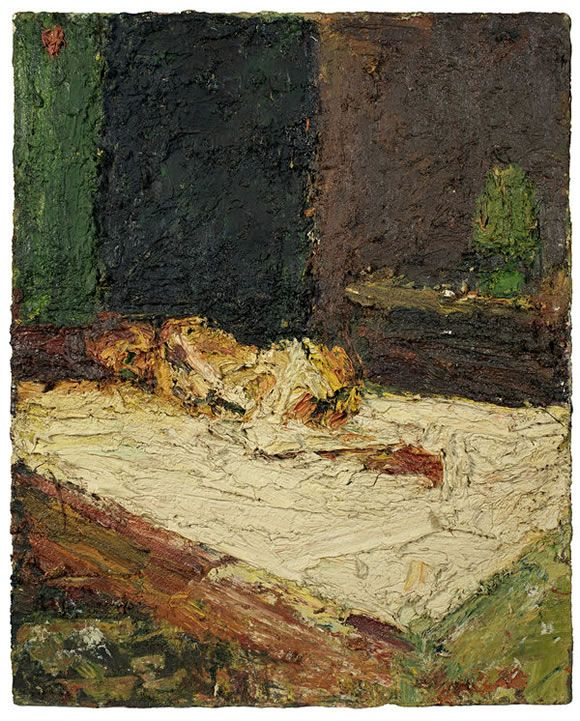 painting by Frank Auerbach entitled E.O.W., Nude on Bed