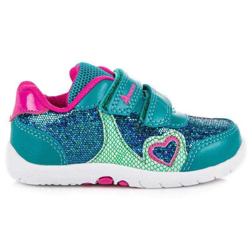 Buty Sportowe Dzieciece Dla Dzieci Americanclub Zielone Dziewczece Trampki American American Club Zapatos Con Luces Zapatos Calzas