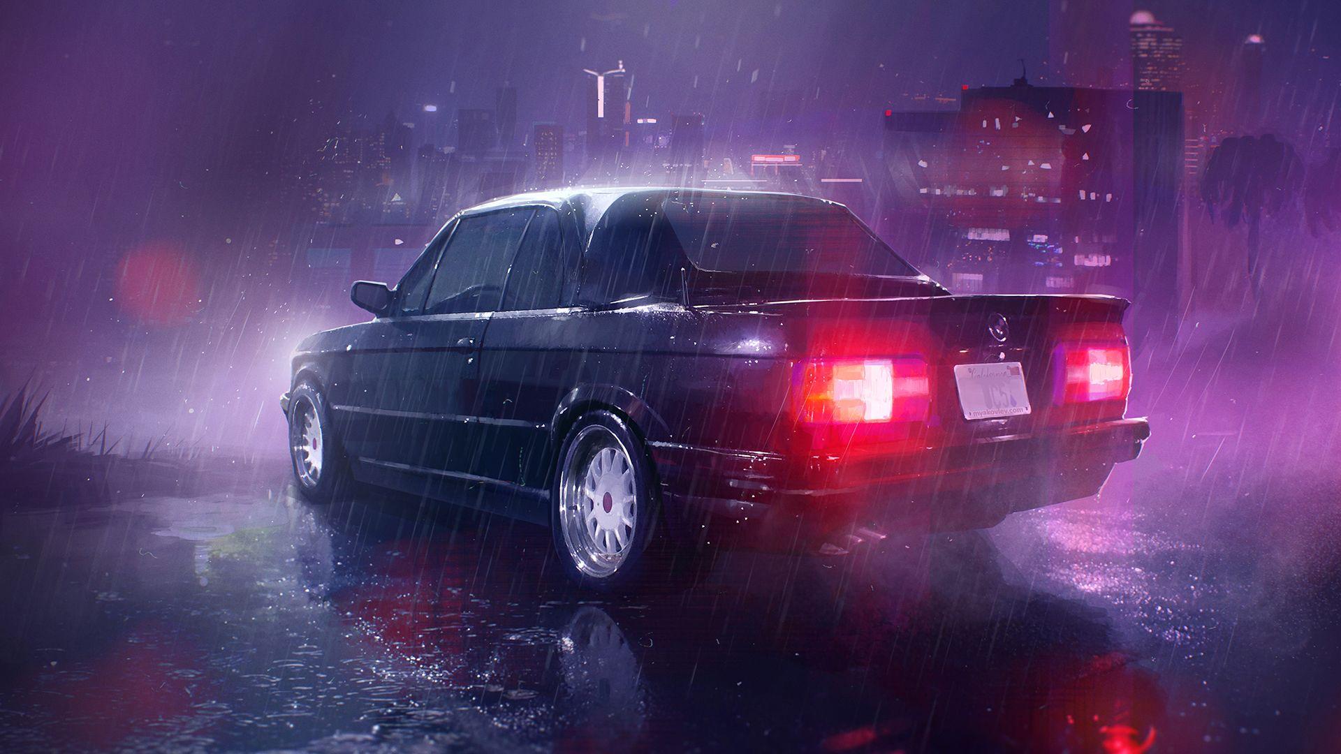 General 1920x1080 digital art neon car BMW E30 rain