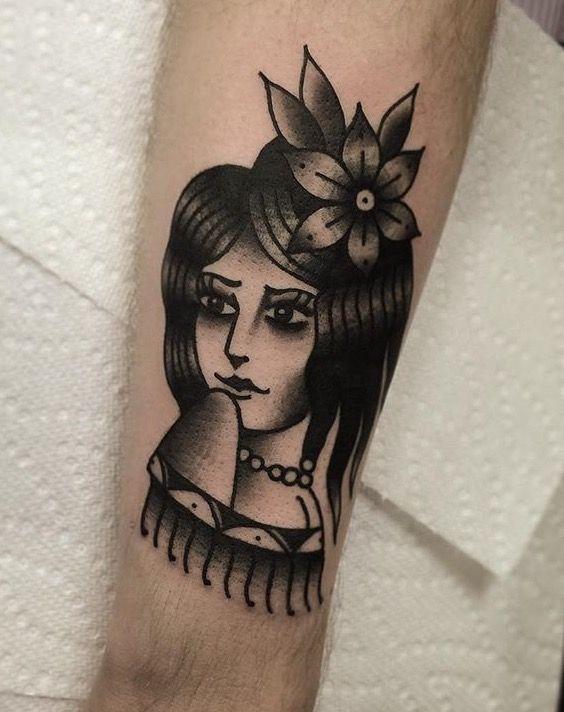 Traditional Black And Grey Girl Head Tattoo Art Black Grey