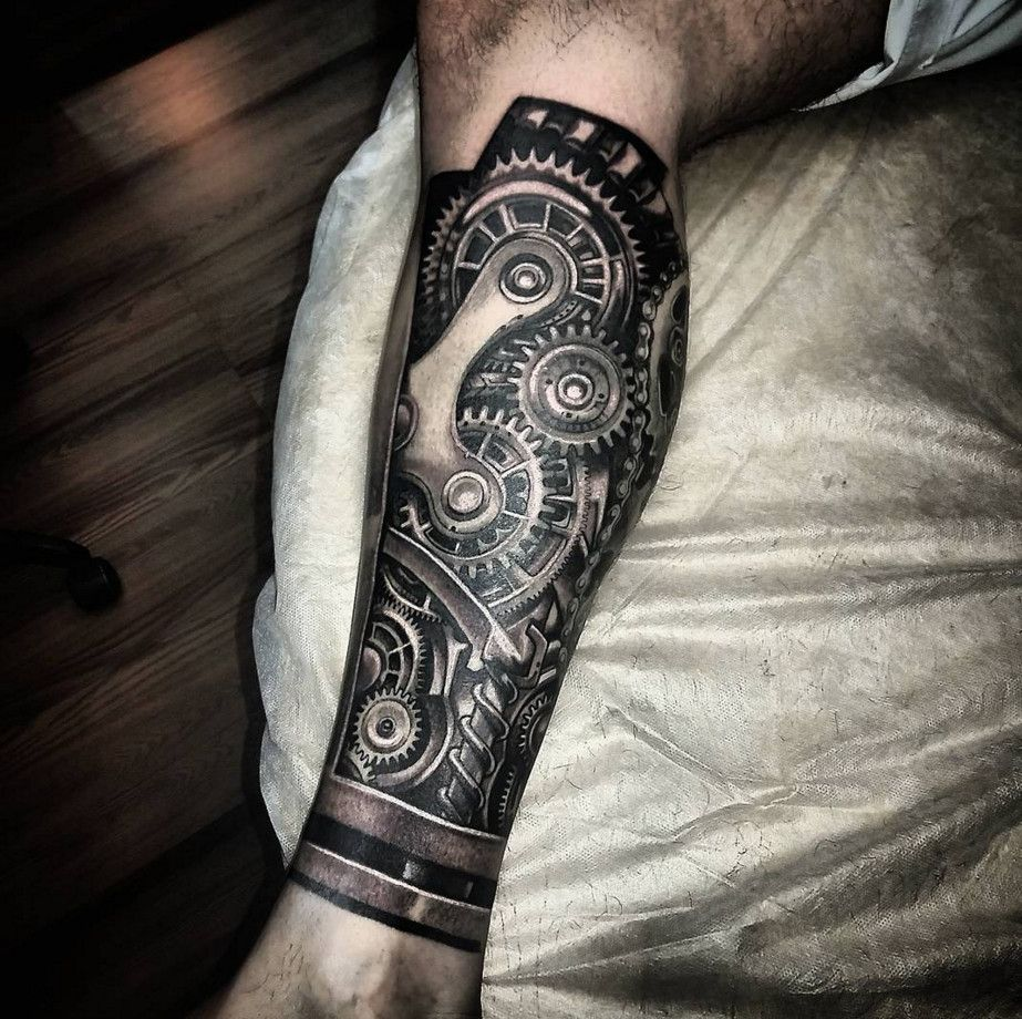 Amazing Black And Grey Biomechanical 3D Tattoo Ideas For