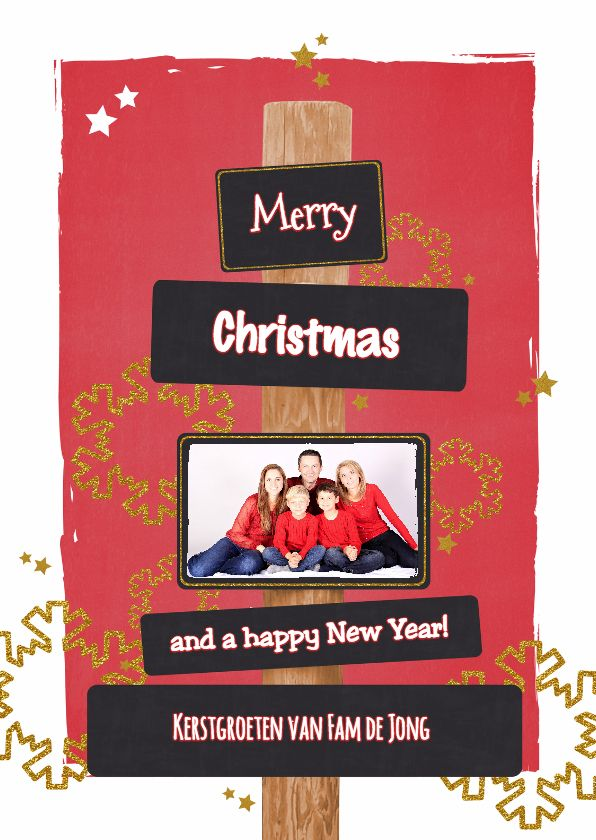 Kerst stoer rood glitter foto, verkrijgbaar bij #kaartje2go voor €1,89