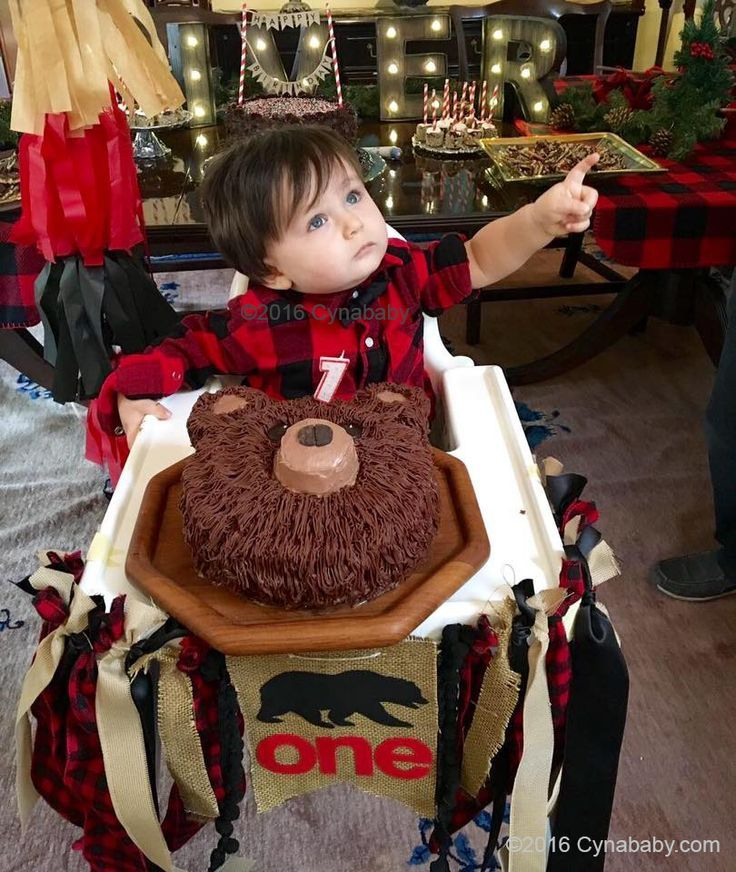 Lumberjack 1st Birthday Party Bear Cake and Buffalo Check Red