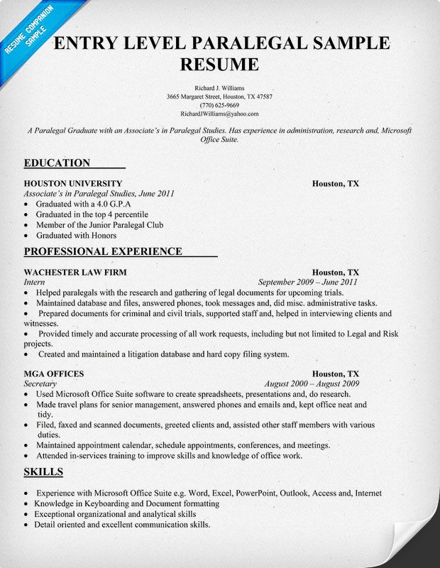 Entry Level Paralegal Resume Sample (resumecompanion) #Law - resume samples for student