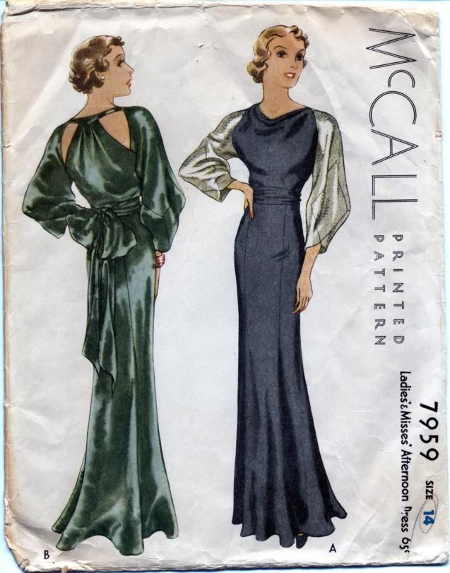 McCall 7959 -- 1930s afternoon gown by Lanvin (according to McCall ...