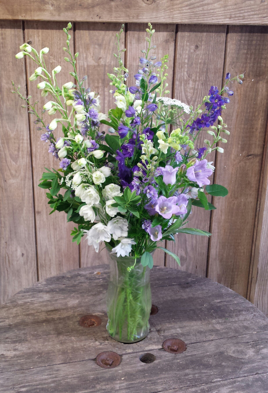 Vase Of Assorted Delphinium And Campanula Delphinium Bouquet July Flowers Delphinium