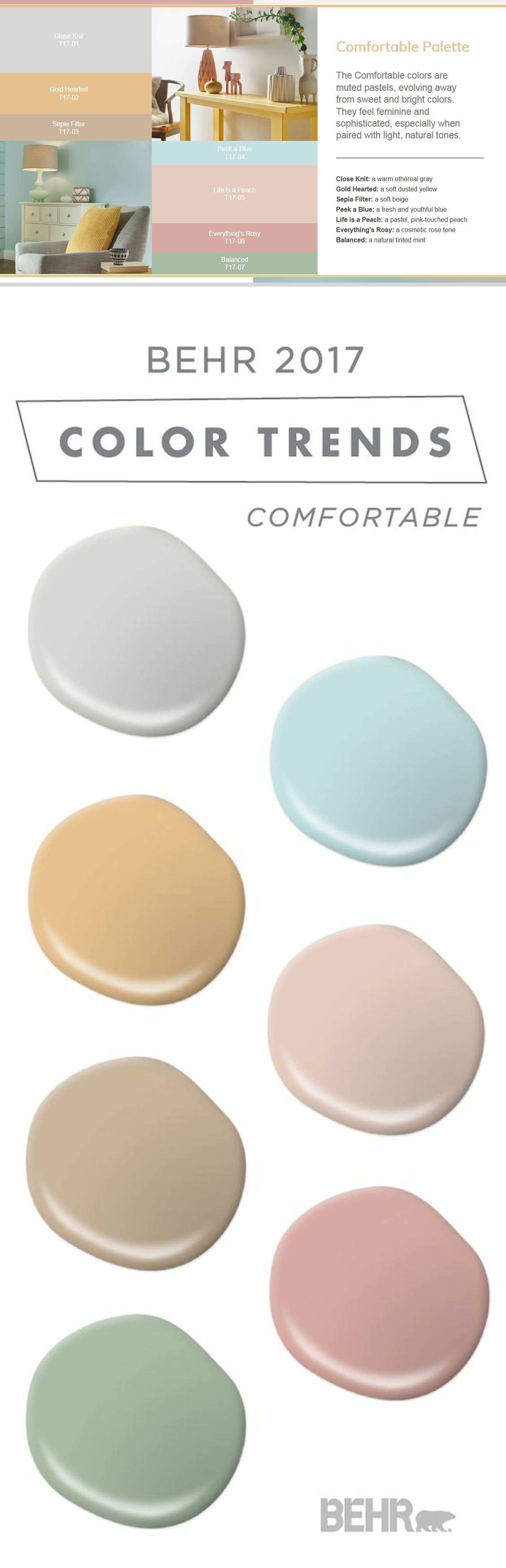 Behr 2017 Color Trends fortable Muted pastels evolving away