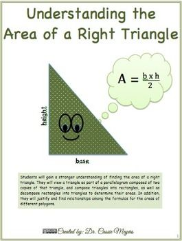 This+structured+inquiry+lesson+uses+a+discovery+approach+to+explore+the+how+to+the+area+of+a+right+triangle+by+using+the+formula+for+finding+area+of+a+triangle.Students+will+gain+a+stronger+understanding+of+finding+the+area+of+a+right+triangle.+They+will+view+a+triangle+as+part+of+a+parallelogram+composed+of+two+copies+of+that+triangle,+and+compose+triangles+into+rectangles,+as+well+as+decompose+rectangles+into+triangles+to+determine+their+areas.