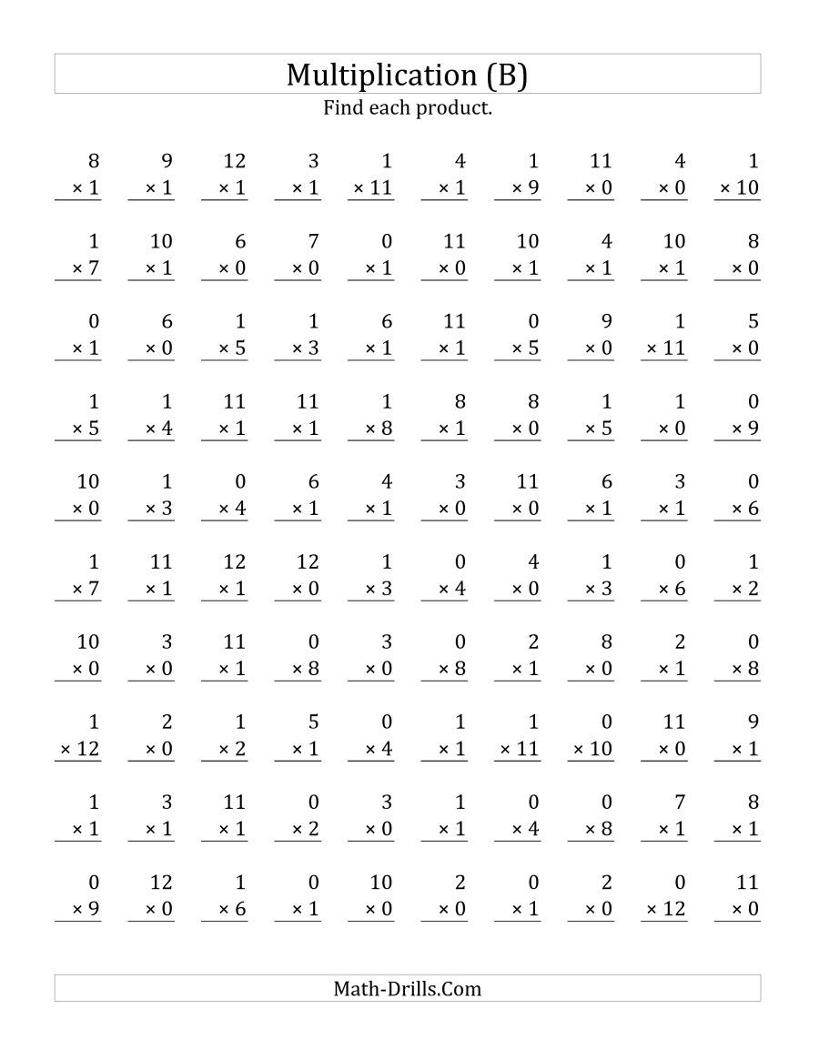 The Multiplying 1 To 12 By 0 And 1 B Math Worksheet Multiplication Facts Worksheets Math Multiplication Worksheets Printable Multiplication Worksheets