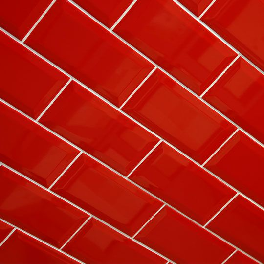 Kids Bath Fuego Biselado Brillo Is A Bevel Edge Brick Red Gloss Wall Tile By
