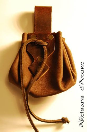 Medieval-Larp-SCA-Cosplay-BROWN LEATHER GAMING LARP DRAWSTRING BAG//POUCH