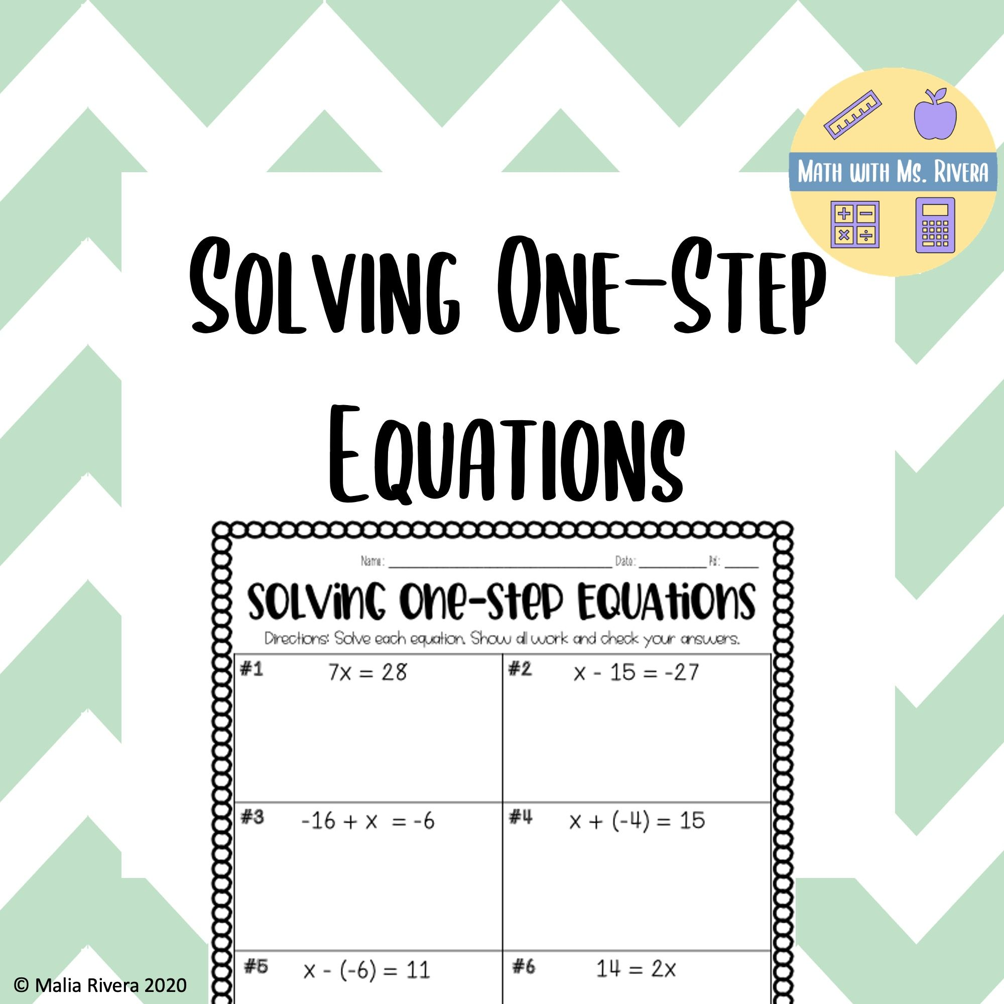 Solving One Step Equations Worksheet In 2020 One Step Equations Equations Solving Equations
