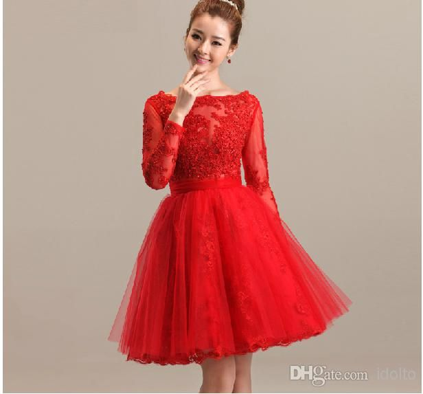 Real Photos Sexy High Neckline Long Sleeves Lace Top Red Short ...