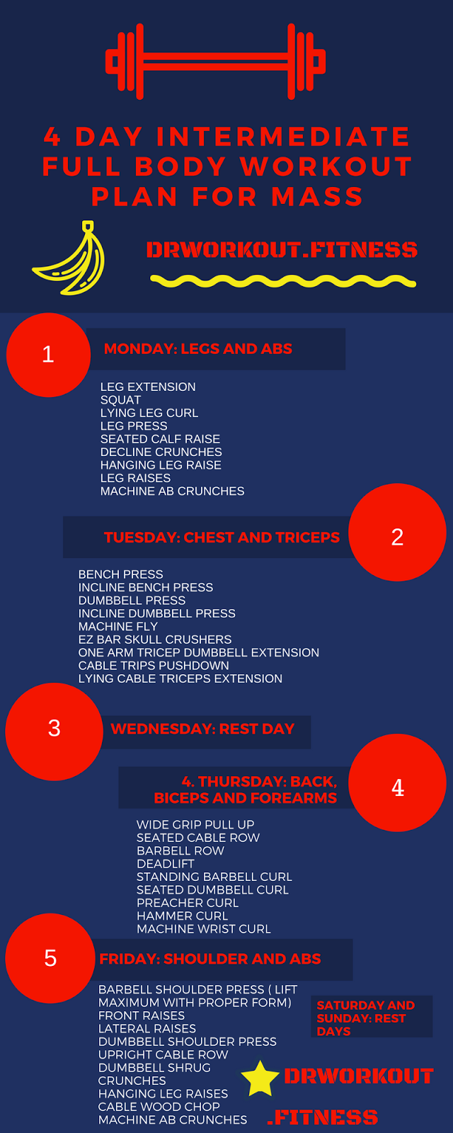 4 Day Intermediate Full Body Workout Plan For Mass Bodybuilding Fitness Gym Workoutplan Workoutroutine Life Health Lifestyle