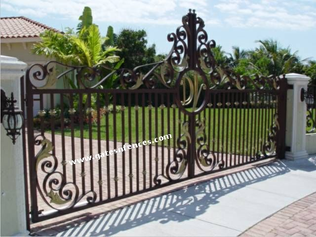 Golden Orchid Driveway Aluminum Gate Wrought Iron Gate Sliding