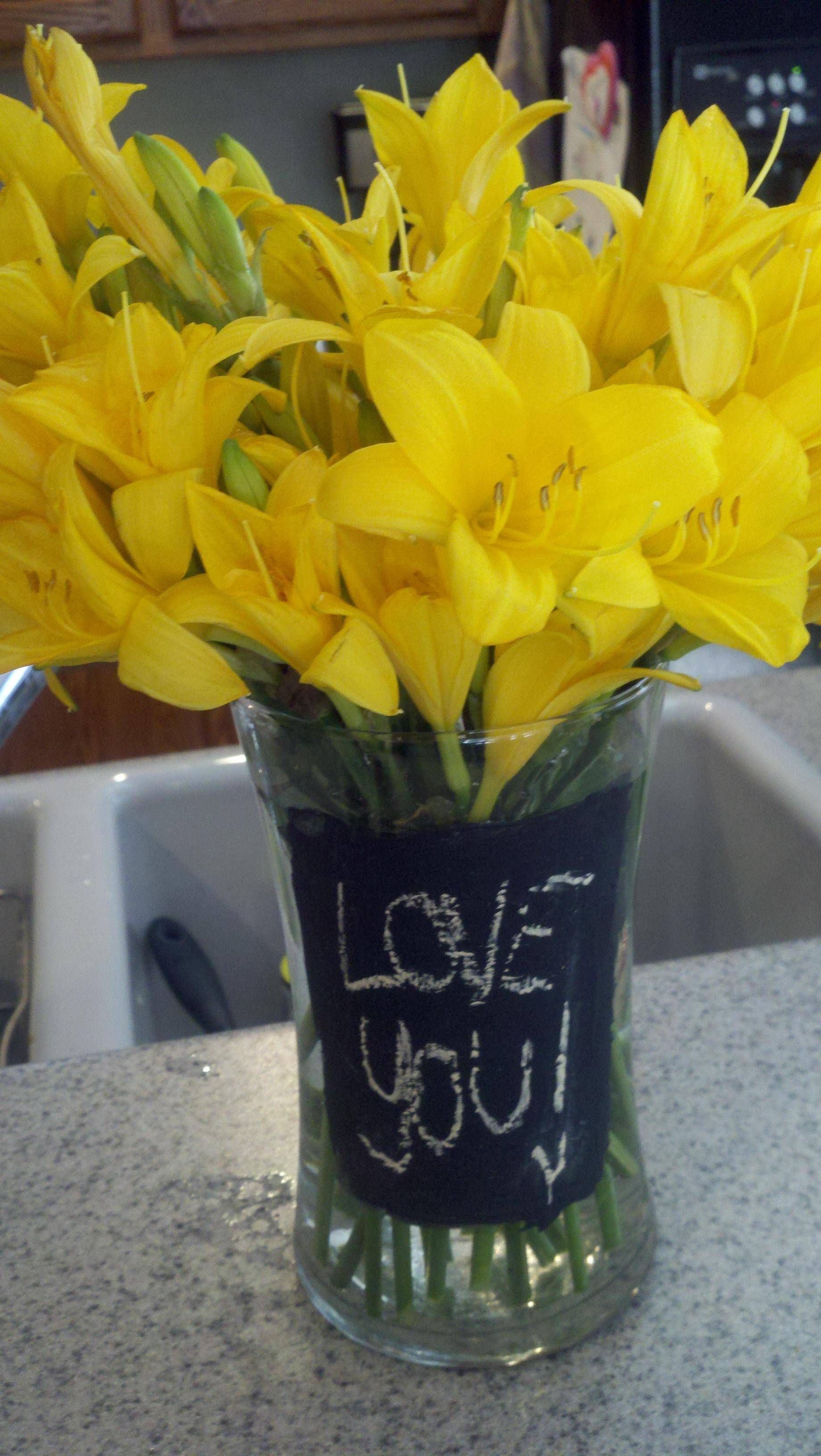 Chalk board paint on vase so you can change message to match the