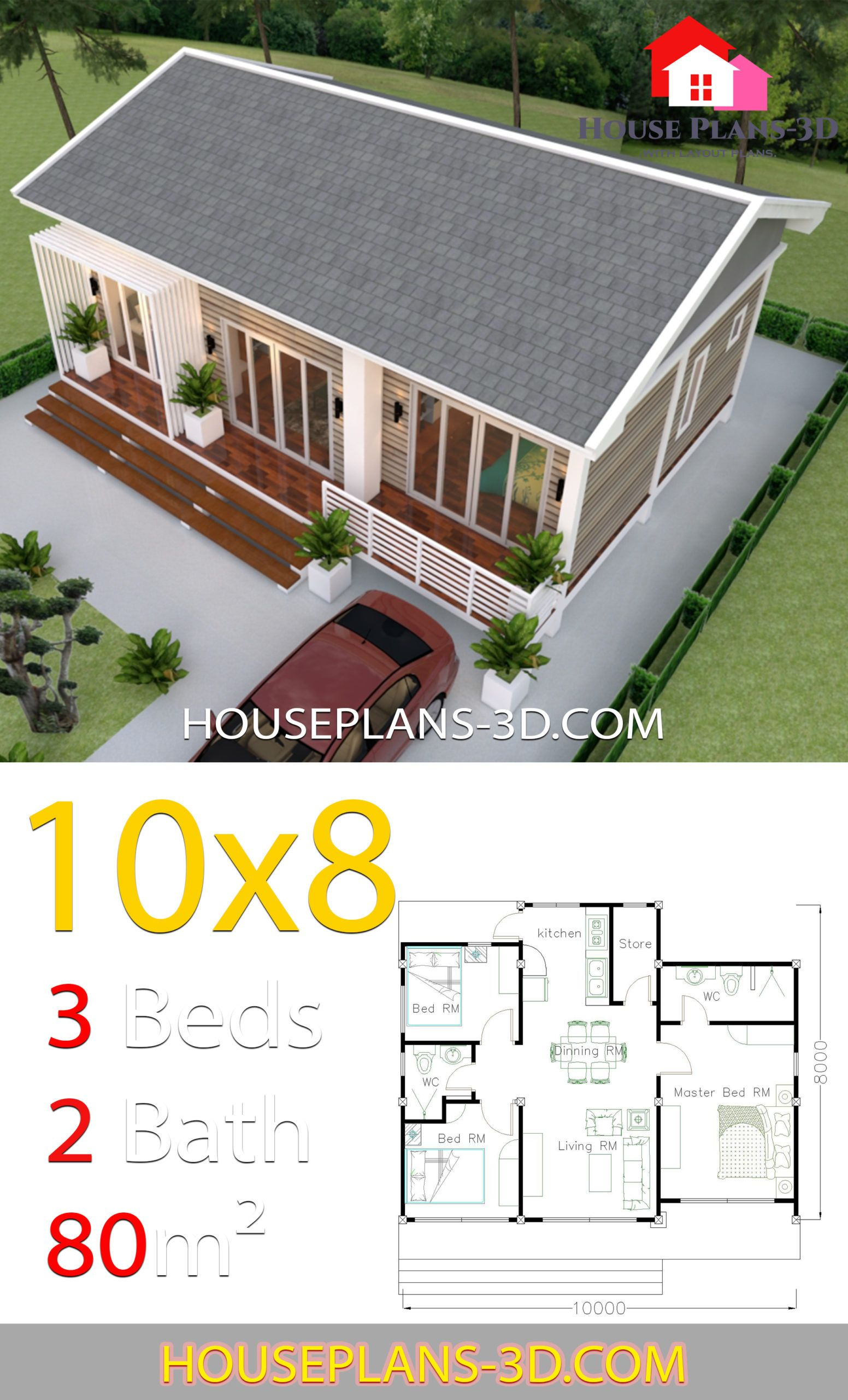 House Plans 10x8 With 3 Bedrooms Gable Roof House Plans 3d House Roof Design House Plan Gallery House Plans