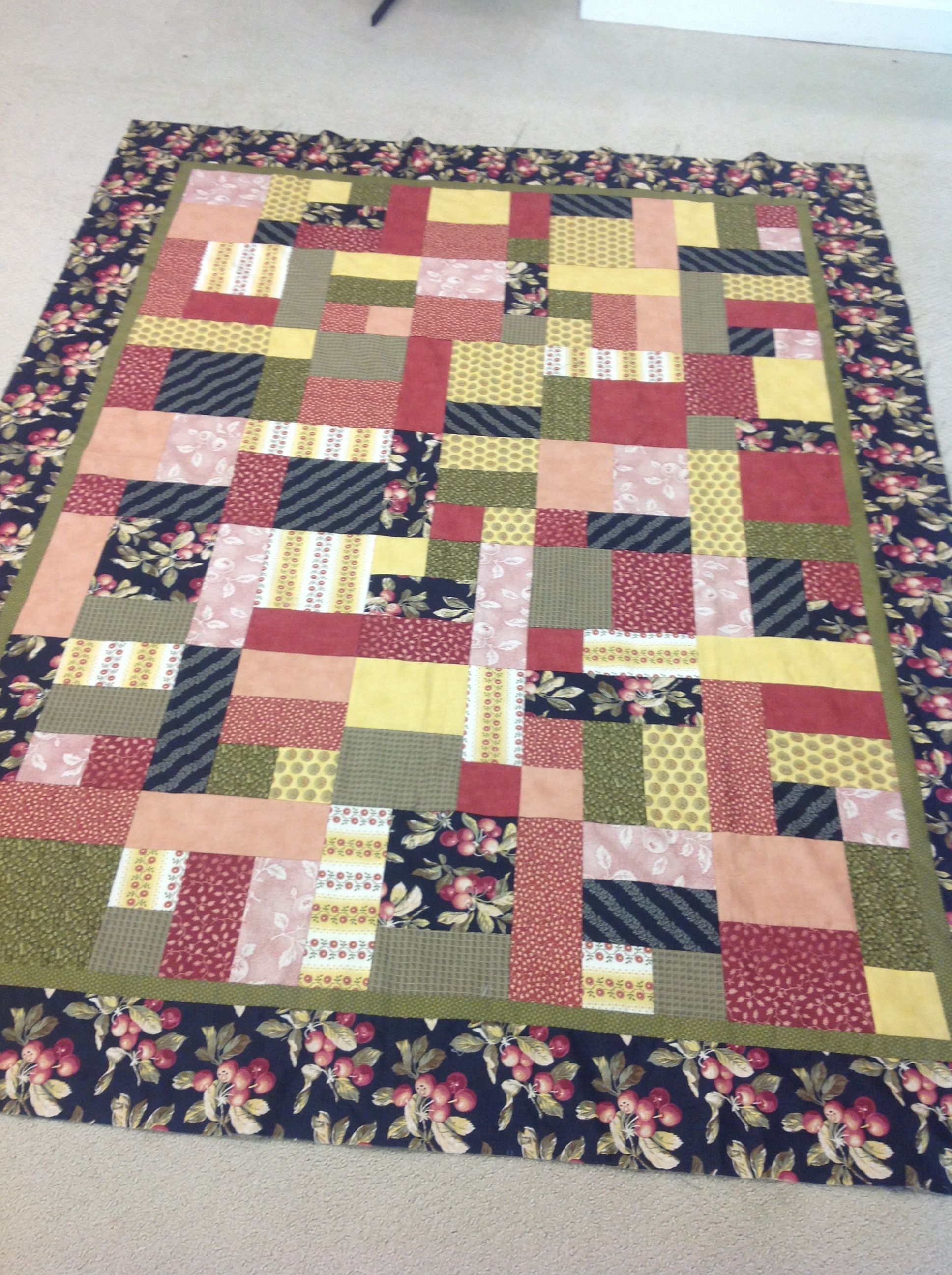 Just Sew It!  This is our new just come and see quilt.  It is a Yellow Brick Road.  All the pieces are cut you just sew!  Call or come in to the shop.