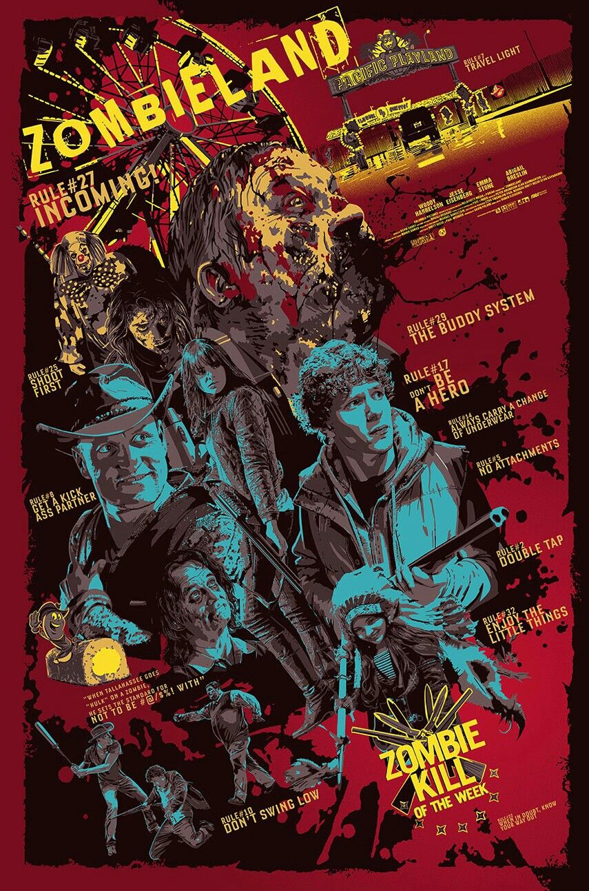Zombieland Horror Movie Art Movie Poster Art Zombieland Movie