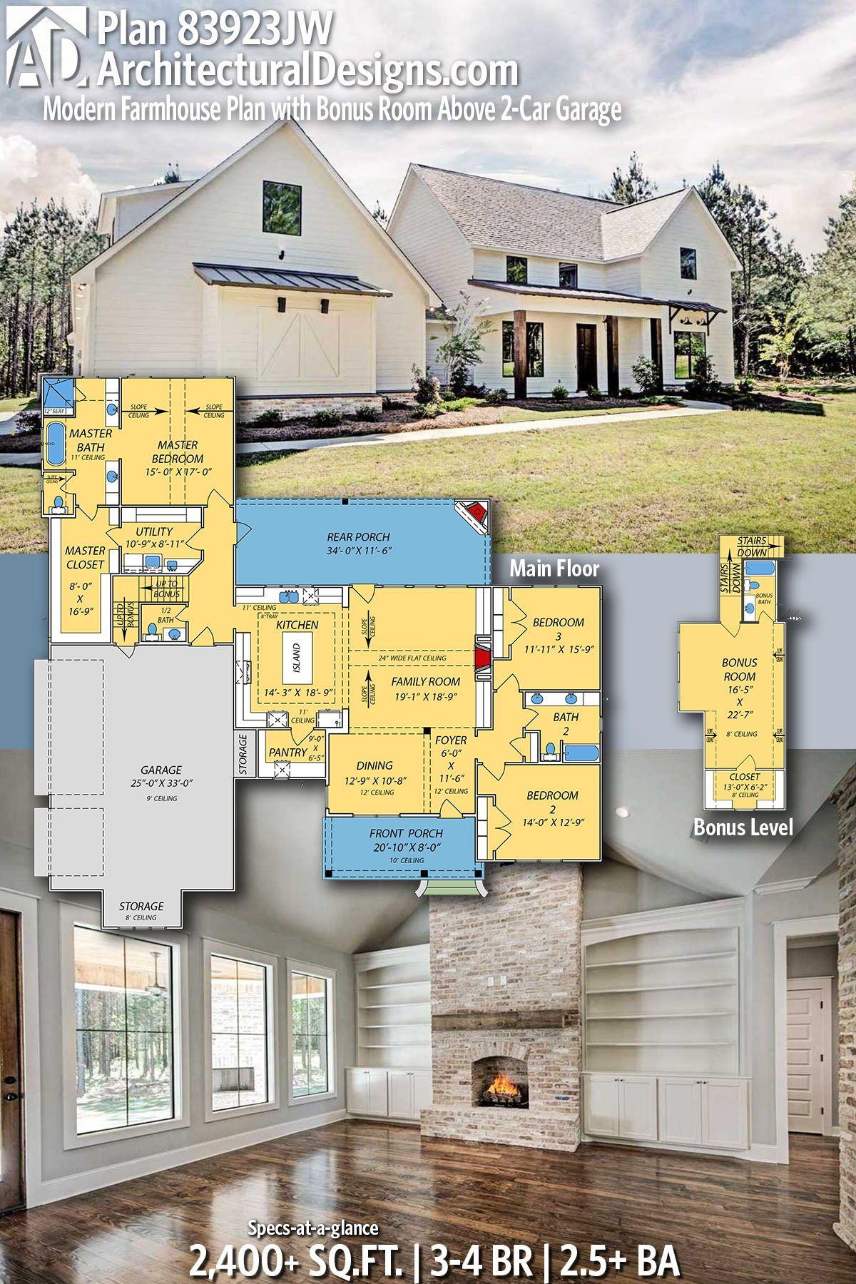 Plan 83923jw Modern Farmhouse Plan With Bonus Room Above 3 Car Garage Modern Farmhouse Plans Farmhouse Plans House Plans Farmhouse