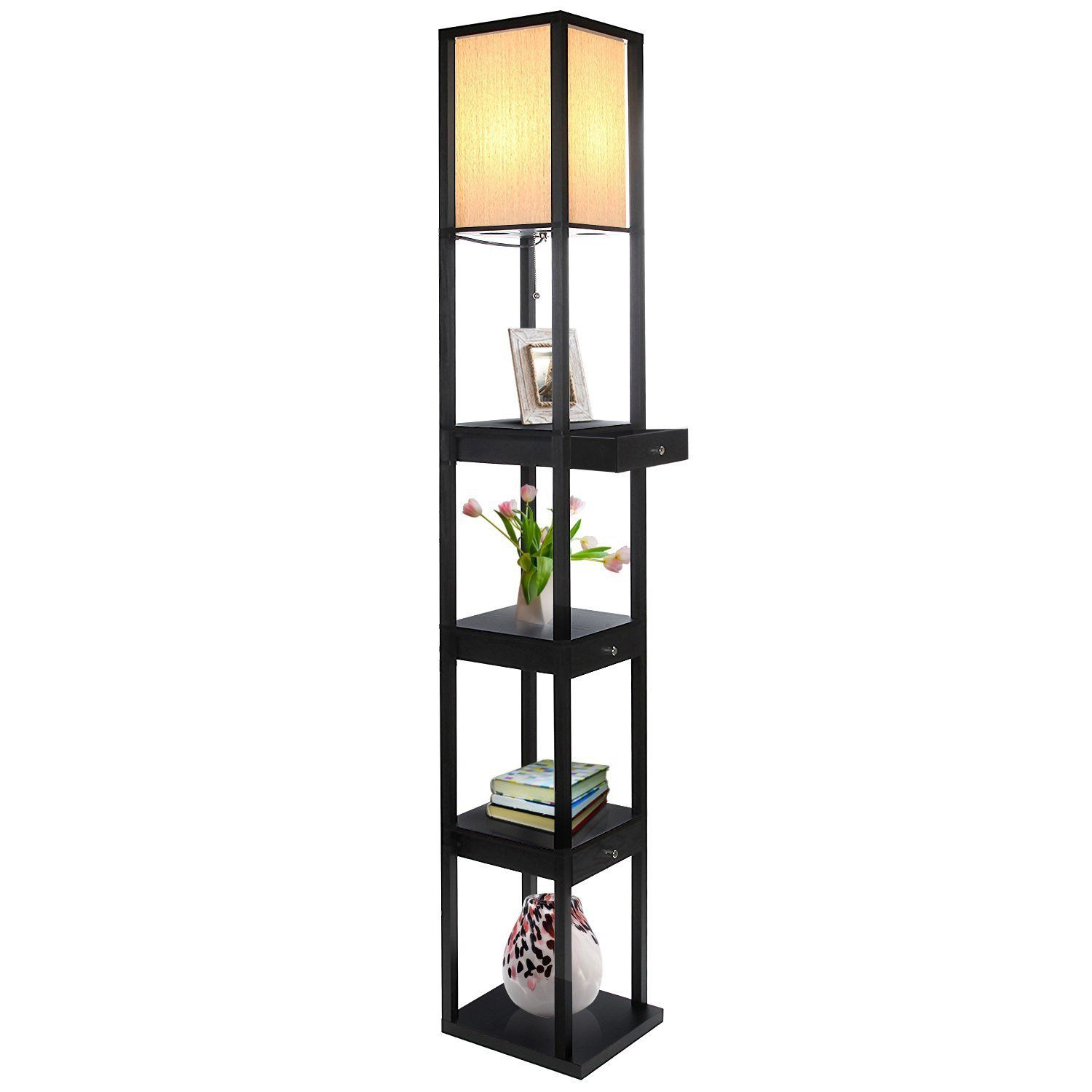 Maxwell Led Shelf Floor Lamp Drawer Edition Modern Asian Style With Wooden Frame Open Box Display Shelves Drawers Standing Soft Diffused Uplight